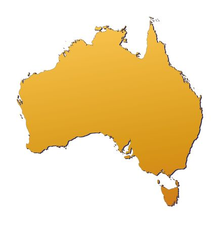 Australia map filled with orange gradient. Mercator projection.