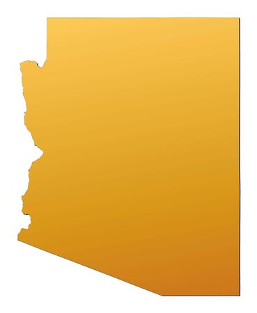 state boundary: Arizona (USA) map filled with orange gradient. Mercator projection.