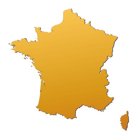 France map filled with orange gradient. Mercator projection. photo