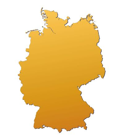 3d bitmap: Germany map filled with orange gradient. Mercator projection.