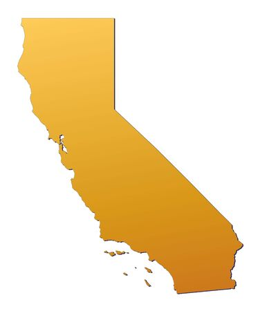 emboss: California (USA) map filled with orange gradient. Mercator projection.