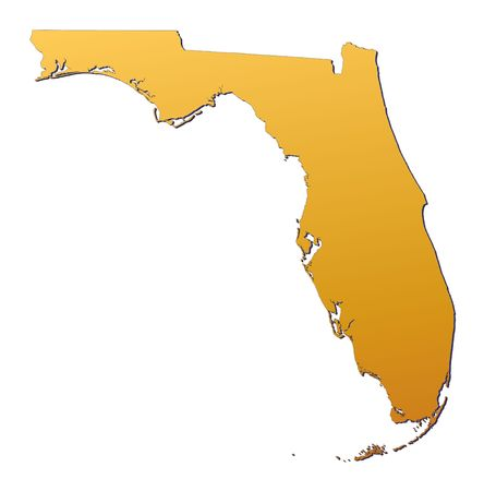 Florida (USA) map filled with orange gradient. Mercator projection.