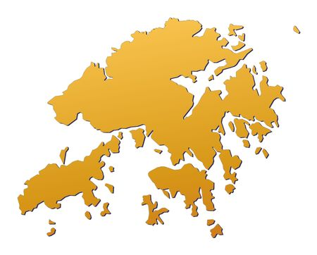 Hong Kong map filled with orange gradient. Mercator projection. photo