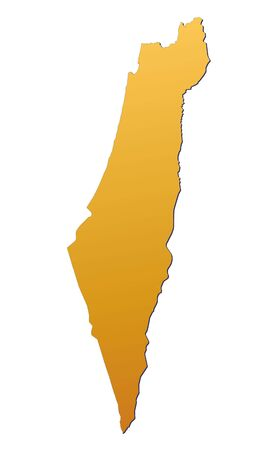 israel: Israel map filled with orange gradient. Mercator projection. Stock Photo