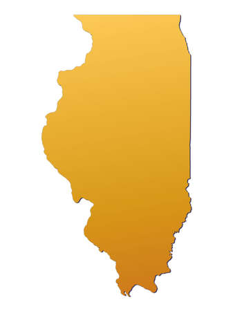 3d bitmap: Illinois (USA) map filled with orange gradient. Mercator projection.