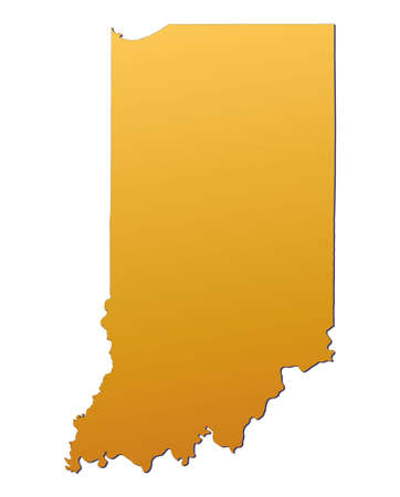 3d bitmap: Indiana (USA) map filled with orange gradient. Mercator projection. Stock Photo