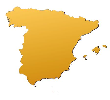 3d bitmap: Spain map filled with orange gradient. Mercator projection. Stock Photo