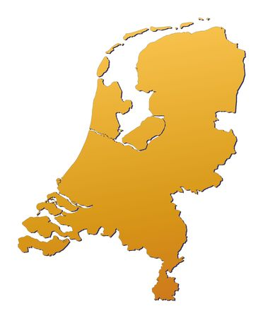 holand: Netherlands map filled with orange gradient. Mercator projection.