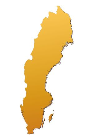 sweden map: Sweden map filled with orange gradient. Mercator projection.