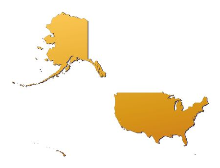 United States map filled with orange gradient. Mercator projection. Banque d'images