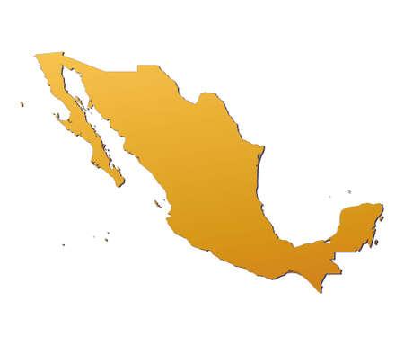 mexiko karte: Mexiko-Karte mit orange Steigung. Mercator-Projektion. Lizenzfreie Bilder