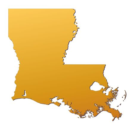 3d bitmap: Louisiana (USA) map filled with orange gradient. Mercator projection. Stock Photo