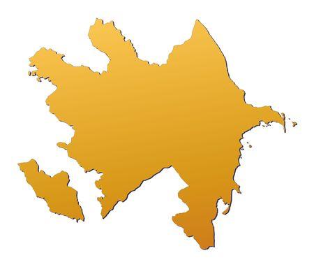 3d bitmap: Azerbaijan map filled with orange gradient. Mercator projection.