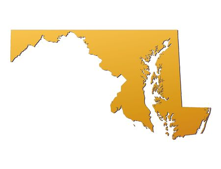 3d bitmap: Maryland (USA) map filled with orange gradient. Mercator projection.