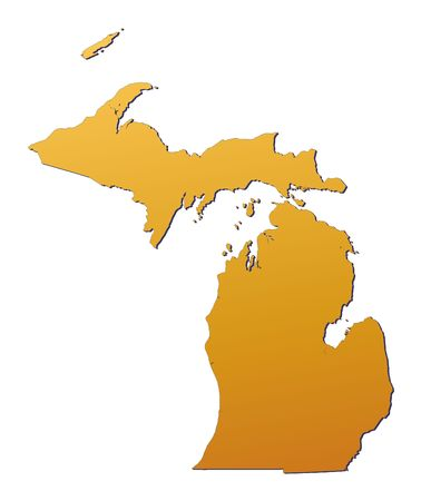 3d bitmap: Michigan (USA) map filled with orange gradient. Mercator projection. Stock Photo