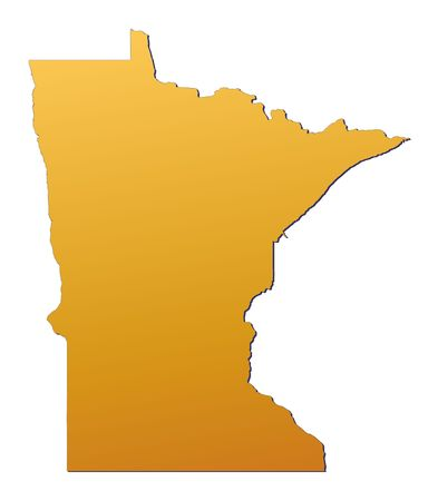 3d bitmap: Minnesota (USA) map filled with orange gradient. Mercator projection.