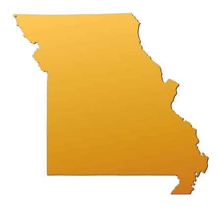 mercator: Missouri (USA) map filled with orange gradient. Mercator projection.