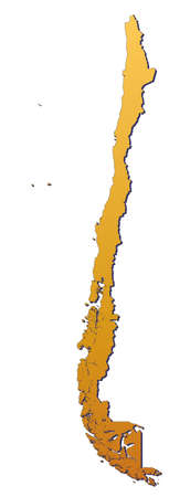 3d bitmap: Chile map filled with orange gradient. Mercator projection.