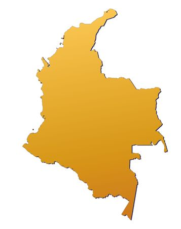 3d bitmap: Colombia map filled with orange gradient. Mercator projection.