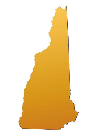 New Hampshire (USA) map filled with orange gradient. Mercator projection. photo