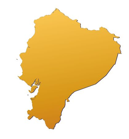Ecuador map filled with orange gradient. Mercator projection. Stock Photo