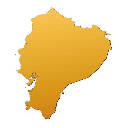 ecuador: Ecuador map filled with orange gradient. Mercator projection. Stock Photo
