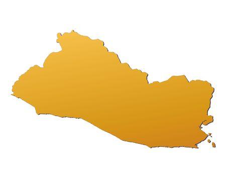 3d bitmap: El Salvador map filled with orange gradient. Mercator projection. Stock Photo