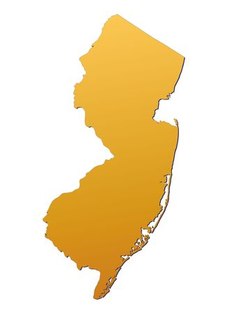 3d bitmap: New Jersey (USA) map filled with orange gradient. Mercator projection. Stock Photo