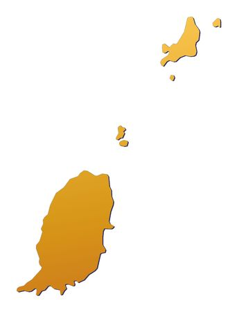 grenada: Grenada map filled with orange gradient. Mercator projection.