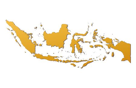 mercator: Indonesia map filled with orange gradient. Mercator projection.