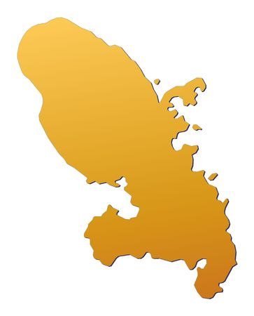 martinique: Martinique map filled with orange gradient. Mercator projection.