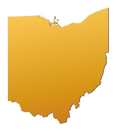 3d bitmap: Ohio (USA) map filled with orange gradient. Mercator projection.