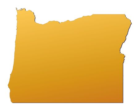 state of oregon: Oregon (USA) map filled with orange gradient. Mercator projection.