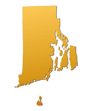 Rhode Island (USA) map filled with orange gradient. Mercator projection. photo