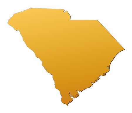 3d bitmap: South Carolina (USA) map filled with orange gradient. Mercator projection. Stock Photo