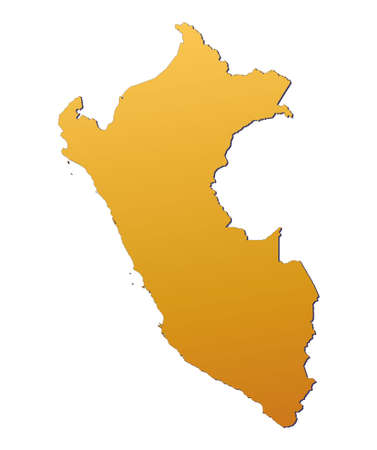3d bitmap: Peru map filled with orange gradient. Mercator projection.