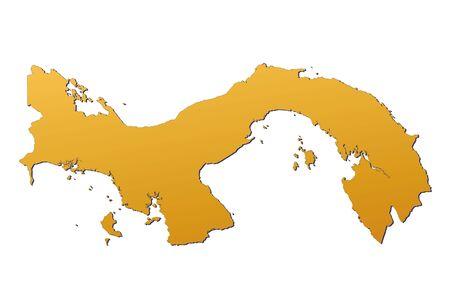 panama: Panama map filled with orange gradient. Mercator projection.