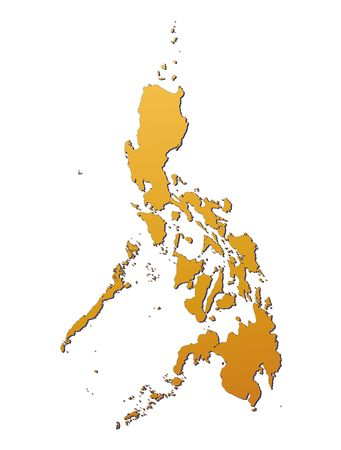 Philippines map filled with orange gradient. Mercator projection. photo