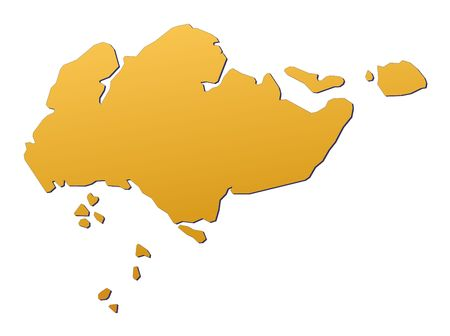 bitmaps: Singapore map filled with orange gradient. Mercator projection.
