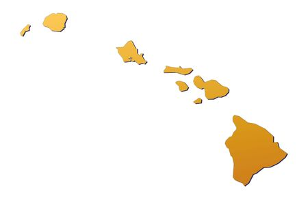 Hawai map filled with orange gradient. Mercator projection.