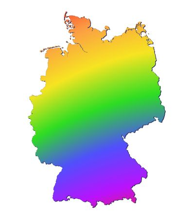 Germany map filled with rainbow gradient. Mercator projection. photo