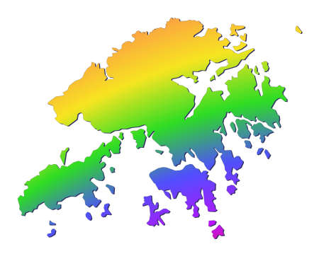 Hong Kong map filled with rainbow gradient. Mercator projection. photo