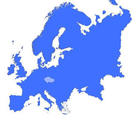 Czech Republic location in Europe map. Mercator Projection.