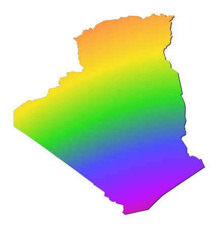 shading: Algeria map filled with rainbow gradient. Mercator projection.