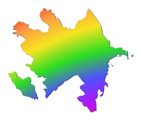 shading: Azerbaijan map filled with rainbow gradient. Mercator projection. Stock Photo