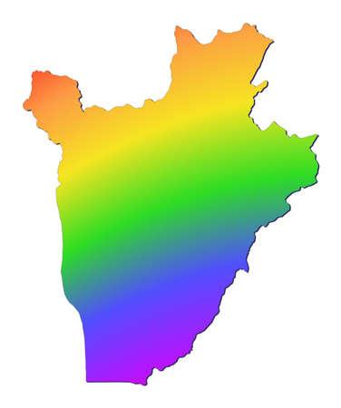 Burundi map filled with rainbow gradient. Mercator projection. photo
