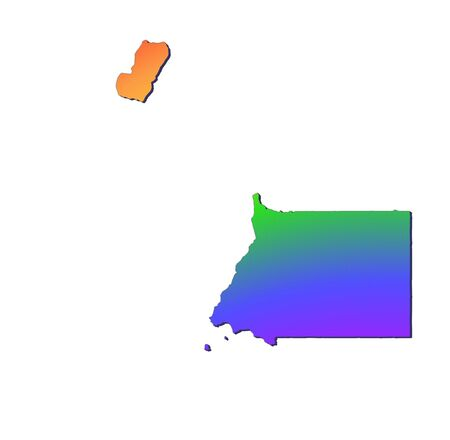equatorial: Equatorial Guinea map filled with rainbow gradient. Mercator projection.