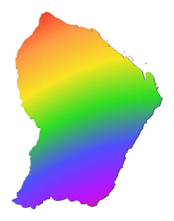 French Guiana map filled with rainbow gradient. Mercator projection. photo