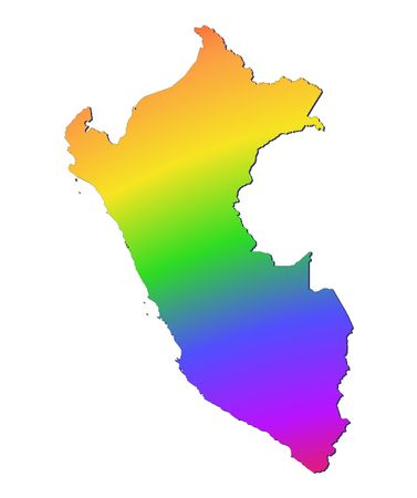 peru map: Peru map filled with rainbow gradient. Mercator projection. Stock Photo