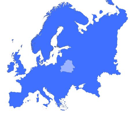 selected: Belarus location in Europe map. Mercator Projection.